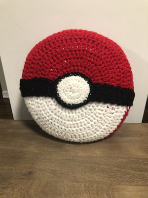 Handmade Pokemon Ball Crochet Throw Pillow for Sale in Rolling Meadows, IL