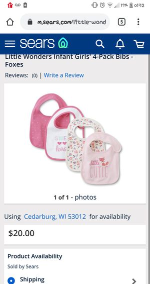 Little Wonders Baby Girl Bibs 4pk NBO for Sale in Milwaukee, WI