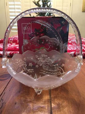 Christmas Mikasa Crystal Silent Night Handled Basket for Sale in Mesa, AZ