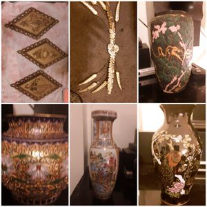 Gold oriental lot vases wall hanging soki set for Sale in Springfield, OH