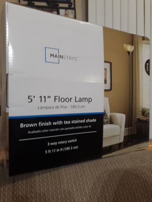 Floor Lamp : Brown finish with tea stained shade for Sale in Austin, TX