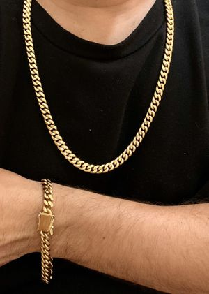 """Gold jewelry bonded in stainless steel 8mm chain 26""""bracelet 8"""" for Sale in Plantation, FL"""