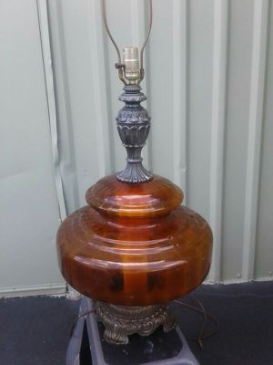 VTG Regency Hollywood Amber Glass Lamp for Sale in Albuquerque, NM