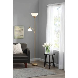 72 inch Floor White Lamp with Reading Light and Gold Metal Stand for Sale in Corona, CA
