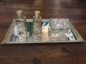 Antique collectible 4 PC ORMOLU dresser set Filigree Brass Glass perfume bottles trinket box tray for Sale in Queens, NY