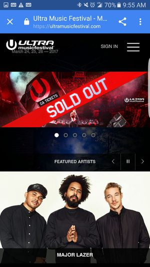 2 SOLD OUT 2017 ULTRA TIX!! for Sale in Kirkland, WA