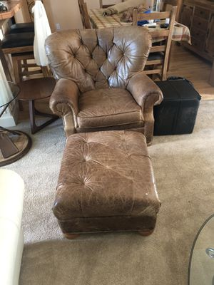 Leather chair and matching footstool for Sale in Bend, OR