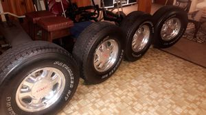 Gmc chrome factory wheels and tires for Sale in Florissant, MO