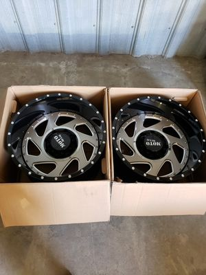 20x12 Moto Metal MO989 Change Up Gloss Black Milled w/ Brushed Inserts **2 rims** for Sale in Corona, CA