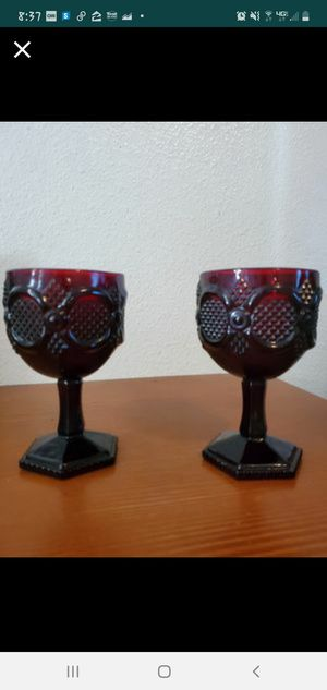 Vintage Avon Ruby Red 1970's...Wheaton glass company...pressed glass..large goblets for Sale in Long Beach, CA
