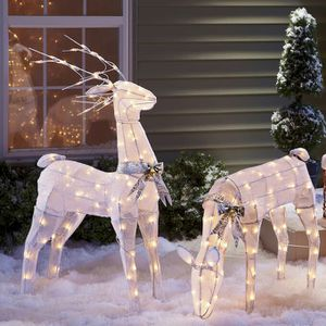 Animated Buck and Doe Lawn Ornaments w/Lights for Sale in Hannibal, MO