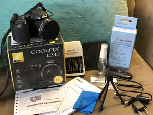 Nikon Coolpix L340 20.2MP Digital Camera Plus Carry Bag ! AND ALL Accessories! for Sale in Pompano Beach, FL