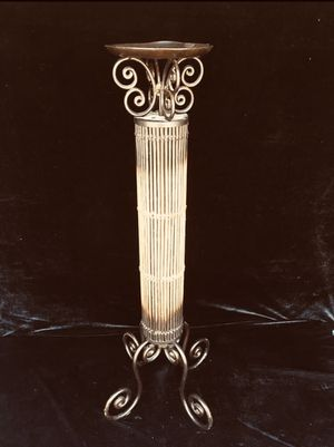 Wrought iron & wicker/cane tall candle holder, H30 x Wbase9 x Wtop6 inch for Sale in Chandler, AZ