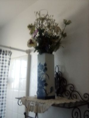 Pretty blue vase with flowers for Sale in Visalia, CA