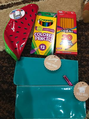 3 pencil pouch and 2 boxes of pencil brand new for 5$ for Sale in Portland, OR