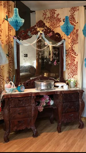 Antique Vanity Dresser with Mirror and Matching Chair for Sale in Manassas, VA