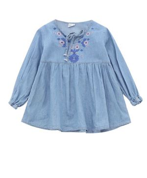 Girl Flower Embroidery Long-sleeved Denim Dress for Sale in St. Louis, MO