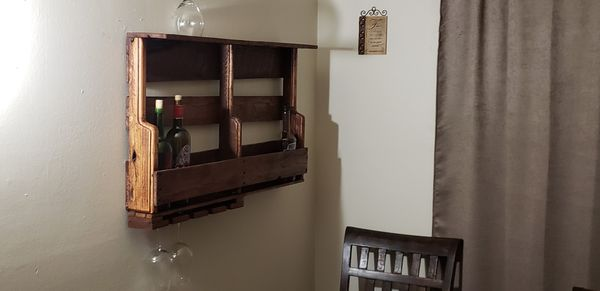 Hand made wall mount wine rack