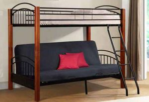 BUNK BED - Twin over Futon Metal/Wood Bunkbed - $125 (Lower East Side) for Sale in New York, NY
