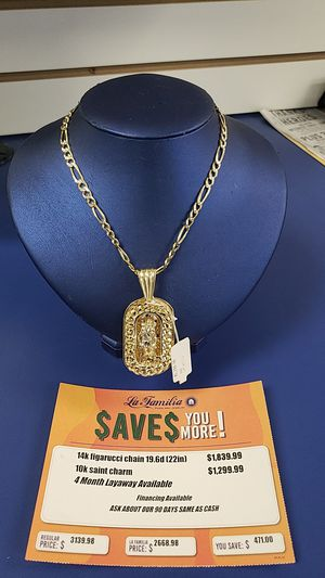 14K Figarucci Chain with 10K Saint Charm for Sale in Tampa, FL
