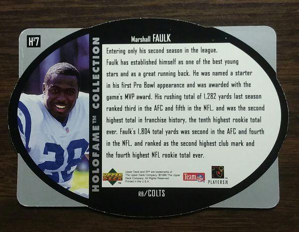 MARSHALK FAULK, NFL COLTS SUPERSTAR, 1996 SPx HALL OF FAME HOLOGRAM #HX7