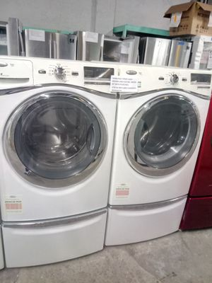 WHIRLPOOL FRONT LOAD WASHER AND ELECTRIC DRYER SET WHIT PEDESTALS WORKING PERFECT for Sale in Baltimore, MD