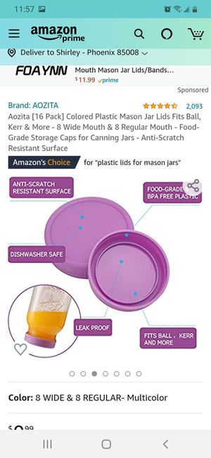 Colored Plastic Mason Jar Lids Fits Ball, Kerr & More - 1 8 Regular Mouth - Food-Grade Storage Caps for Canning Jars for Sale in Phoenix, AZ