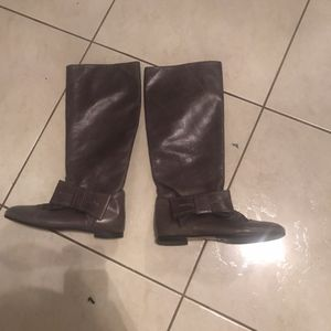Red Valentino Grey Bow Leather Riding Boots EUC Size 7.5/37.5 for Sale in Alamo, TX