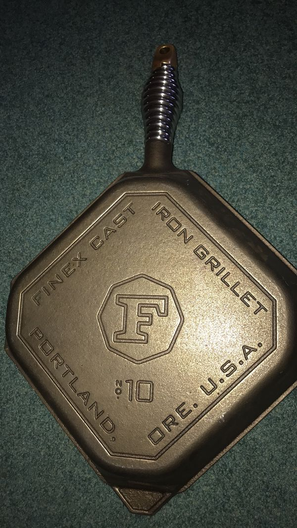 """- Finex Cast Iron 10.0"""" SQUARE Grill Pan 1 Long Handle"""
