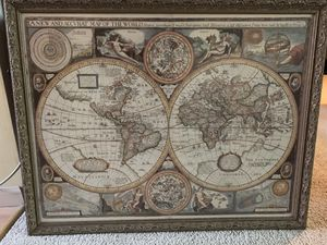 Framed antique world map (reproduction) for Sale in Seattle, WA