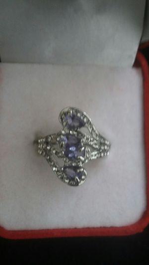 Ladies fashion 925 silver natural Sapphir Gemstone diamond ring Princess wedding band sizes 9 for Sale in Moreno Valley, CA