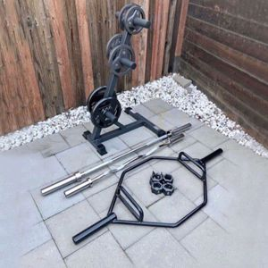 Olympic Weights, Olympic Barbell, Curl Bar, Trap Bar And Weight Tree (brand New) for Sale in San Jose, CA