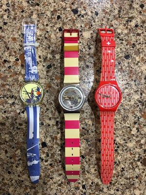 """ RARE HARD TO FIND "" SWATCHES !!!!!!! ALMOST MINT CONDITION!!!! NEW BATTERY INSTALLED!!!!! ICONIC SWATCH WATCHES !!!! FOR ALL THREE!! for Sale in Orlando, FL"