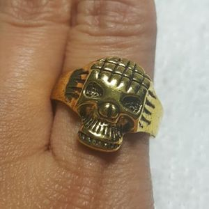 Vintage Tibet Silver Gold plated Skull Punk Rock Style Retro Men Women Rings Size - 9.25 Hip Hop Ring. Alloy Relievo Ring RGN-08 ***Shipping Only*** for Sale in Queens, NY