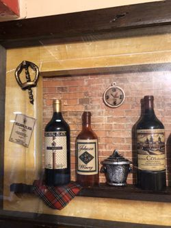 "Wall Decor - Vintage Look Bar Counter with Mini Wine Bottles - 15""x11"" for Sale in Maple Heights,  OH"