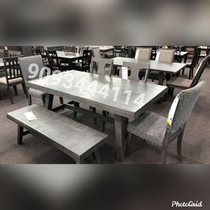 6 pc Dining table set gray for Sale in Montclair, CA