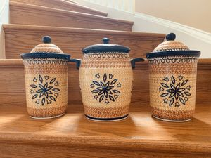 6 piece Boleslawiec Polish Pottery Canister Set for Sale in Alexandria, VA