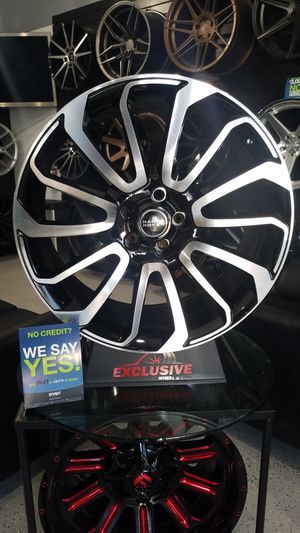 22x9 5x120 et35 range rover land rove black machine wheels rims for Sale in Tempe, AZ
