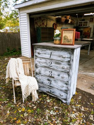 Farmhouse / Rustic Tall Boy Numbered Dresser 35W x 45H x 17.5D -Delivery is available! for Sale in Joliet, IL
