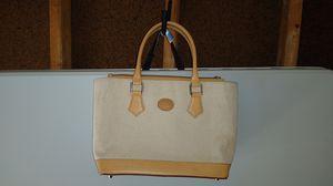 Cristian Italian Leather Shoulder Purse 100% Linen, Leather Straps Shoulder Bag Tote Purse for Sale in Dublin, OH