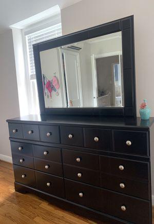 Black dresser and mirror for Sale in Arlington, VA