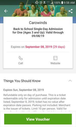 (2) Carowinds Tickets for Sale in Garner, NC
