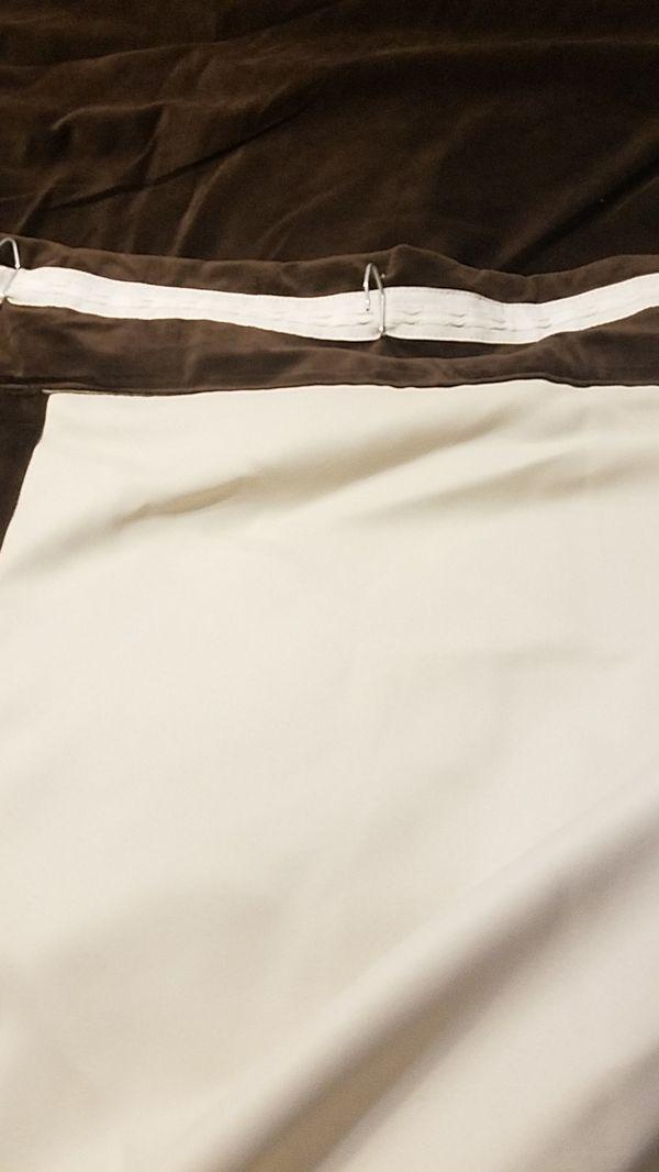 curtains custom lined,brown velvet/ suede