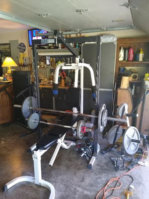 Complete Home Gym. Free weights and Cable system. for Sale in Shady Shores, TX