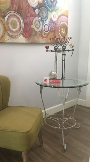 Urban Farmhouse Heavy Wrought Iron Glass Top Table/End Table/Side Table/Accent Table/Entry Table/Coffee Table/Night Stand/Excellent Condition! for Sale in Phoenix, AZ