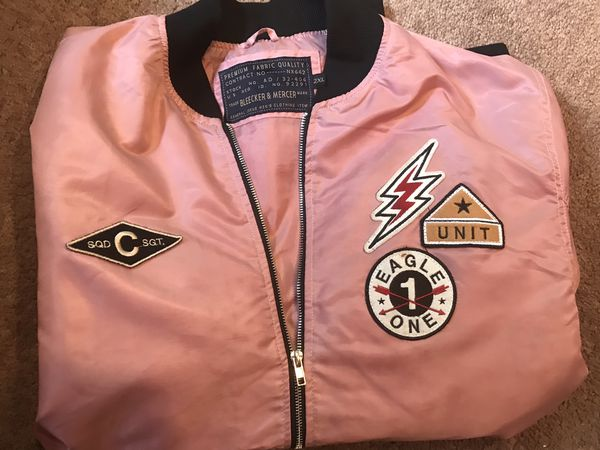 Bleeker & Mercer Pink Military Embroidered Patched Bomber Jacket Size XXL