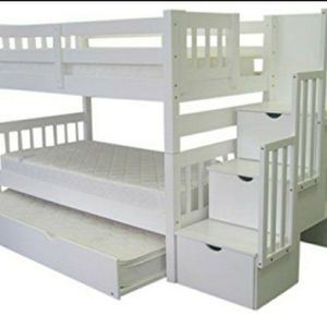 Bed Kingz Stairway Twin Over Twin With 3 Drawers In The Steps And Twin Trundle for Sale in Lemoore, CA