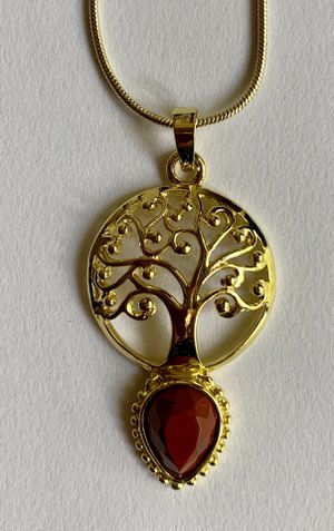 Jewelry necklace gemstone red jasper rose gold tone tree of life for Sale in Worcester, MA