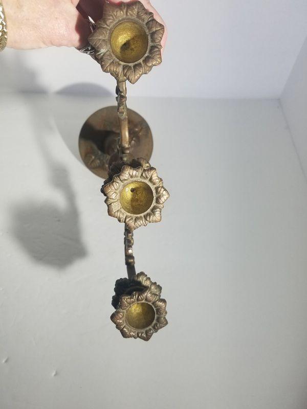 Antique Vintage Heavy Solid Brass 3 Arm Candelabra Candle Holder