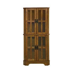 Coaster 4 Shelf Traditional Corner Curio Cabinet in Warm Golden Brown 950185 for Sale in Missouri City, TX
